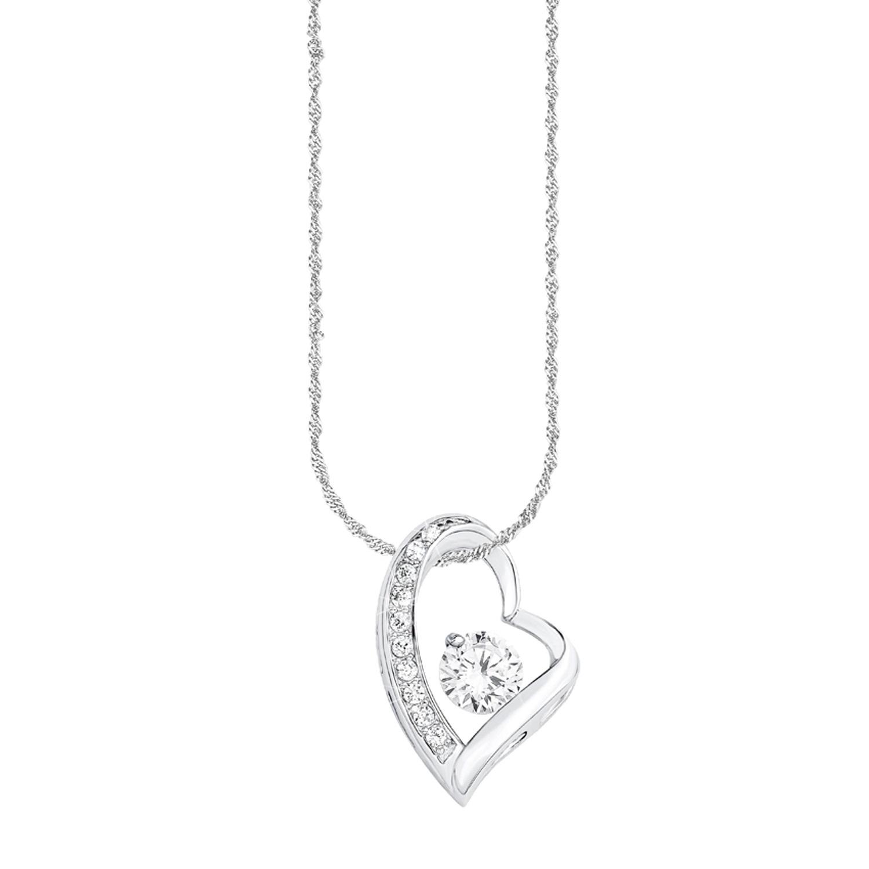 Kette mit Anhänger amor Damen-Kette 45 cm mit Anhänger Herz 925 Silber rhodiniert Zirkonia weiß