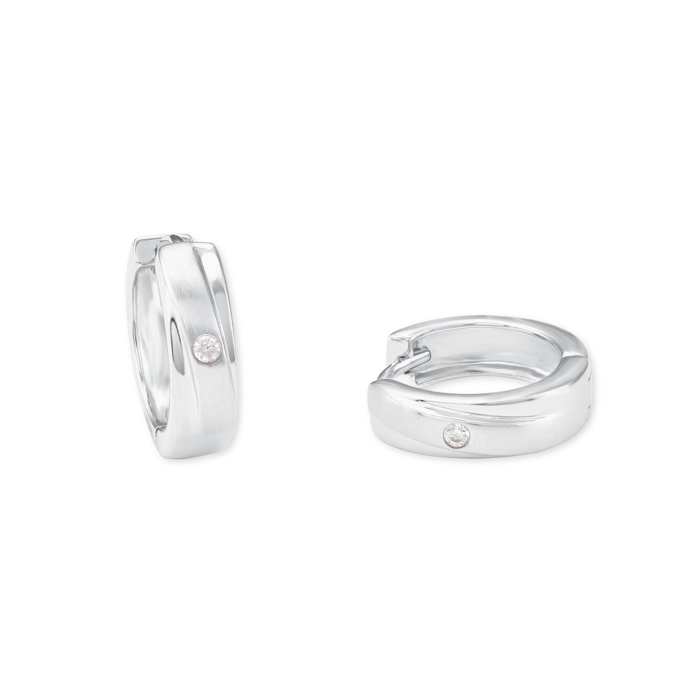 Creole für Damen 15 mm 925 Sterling Silber teilmattiert Zirkonia weiß
