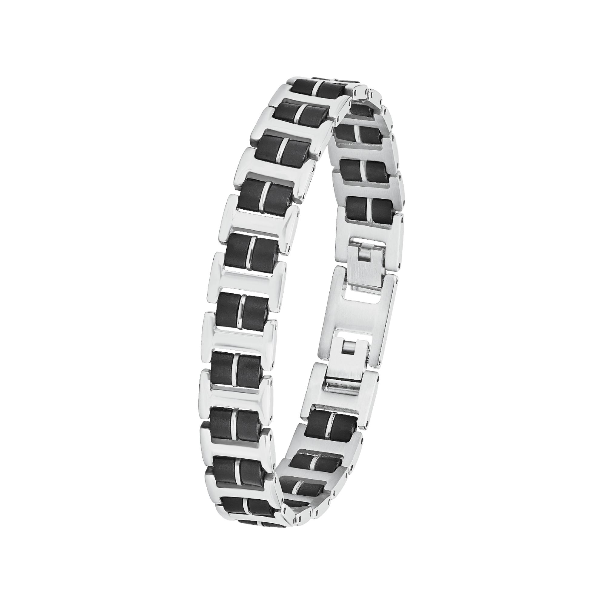 Armband für Herren, Edelstahl mit Kautschuk, 22 cm