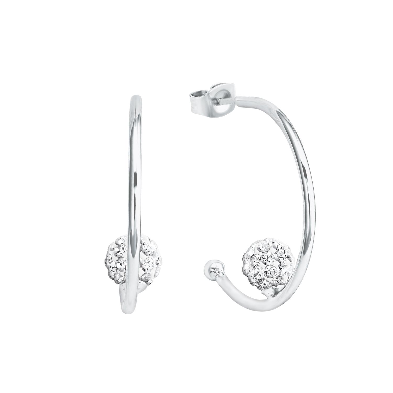 Creole für Damen mit Kugel-Design, glänzendes Silber 925, Zirkonia
