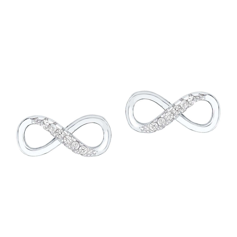 Ohrstecker für Damen 12 mm Infinity Unendlichkeitszeichen 925 Silber rhodiniert Zirkonia weiß