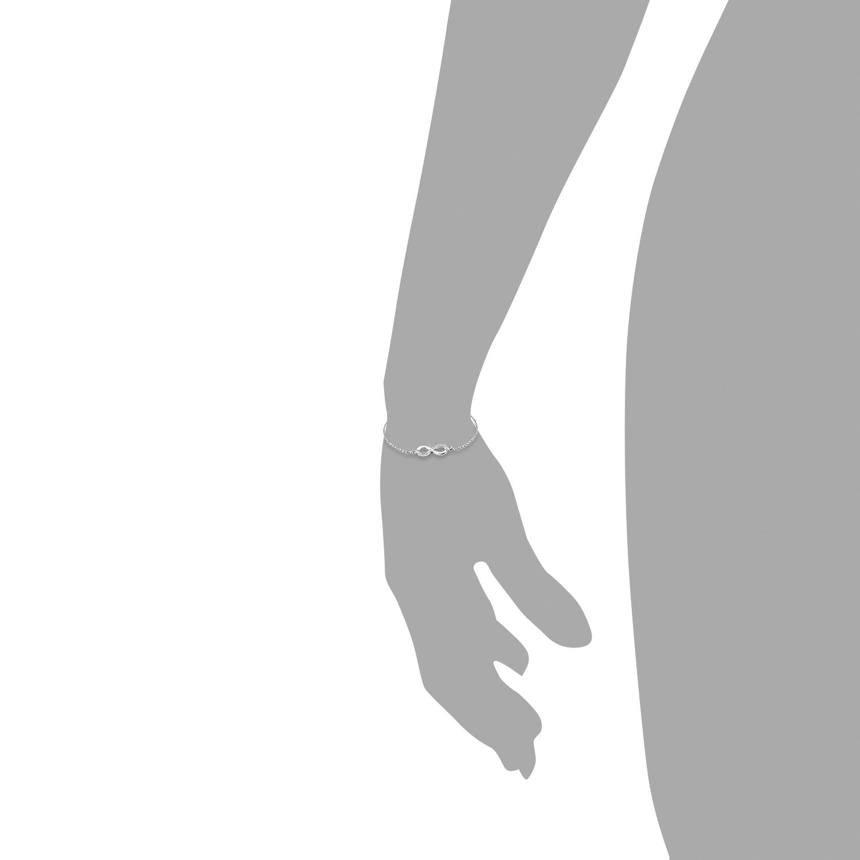 Armband für Damen 19 cm Infinity Unendlichkeitszeichen 925 Sterling Silber Zirkonia weiß