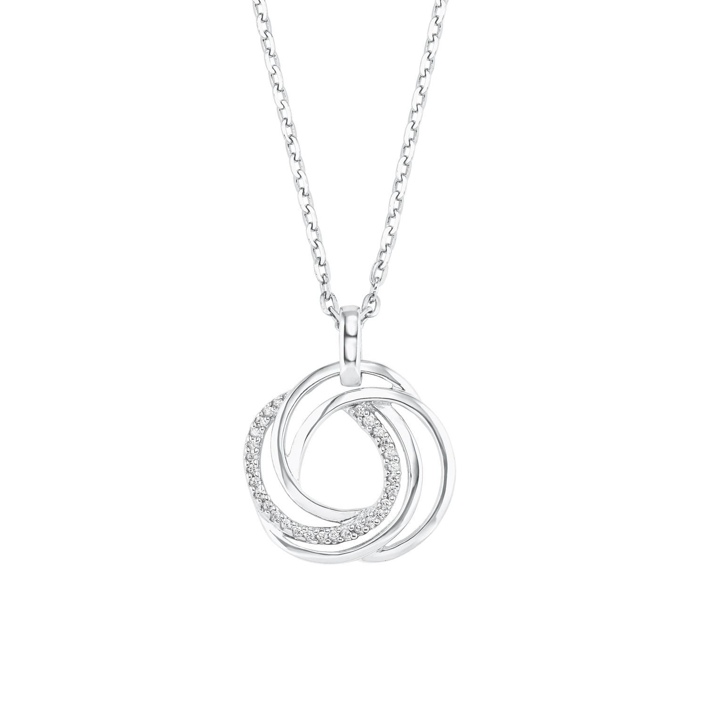 Kette mit Anhänger Silber 925, rhodiniert Zirkonia synth. Kreis