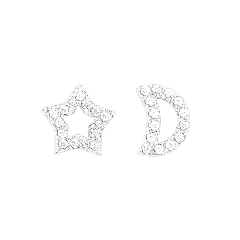 Ohrstecker für Damen, Sterling Silber 925, Zirkonia Mond/Sterne