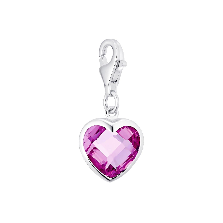 Charm für Damen, 925 Sterling  Silber  Zirkonia | Herz