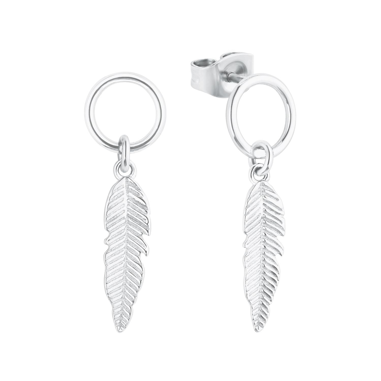 Ohrhänger für Damen, Sterling Silber 925, Feder