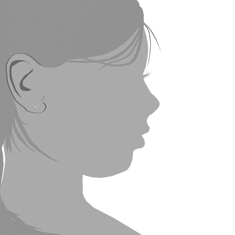 Ohrstecker für Kinder Mädchen, 925 Sterling Silber, Zirkonia Rainbow