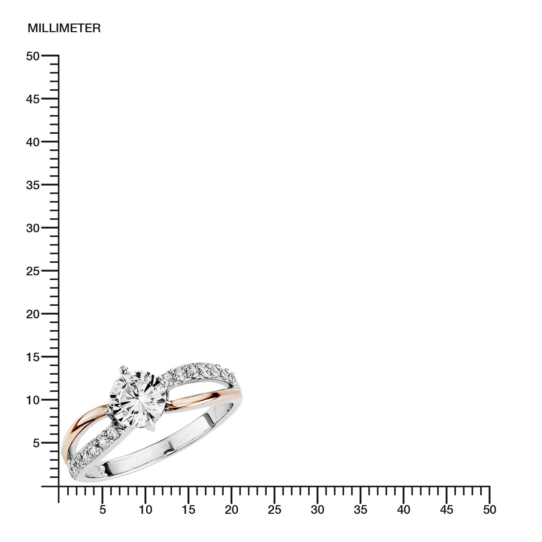 Ring für Damen Bicolor 925 Sterling Silber teil-rosévergoldet Zirkonia weiß