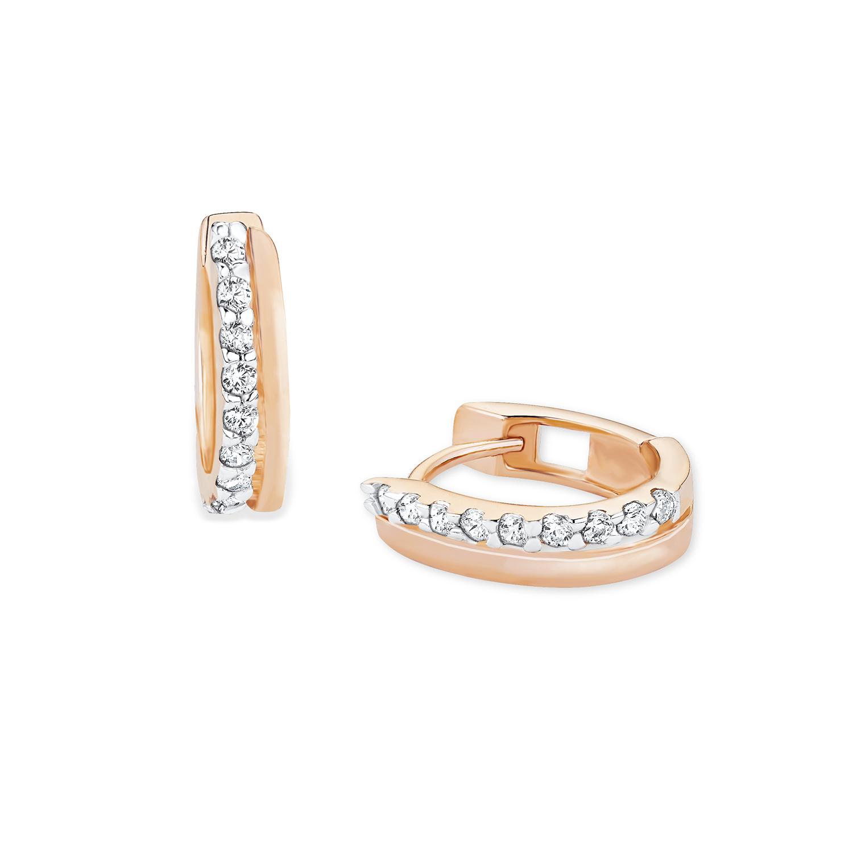 Creole für Damen 925 Sterling Silber rosévergoldet Zirkonia weiß