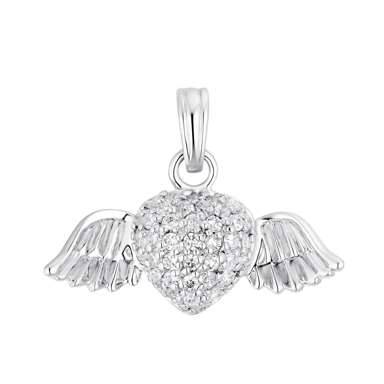 Motivanhänger für Damen, 925 Sterling Silber Zirkonia | Herz mit Flügel