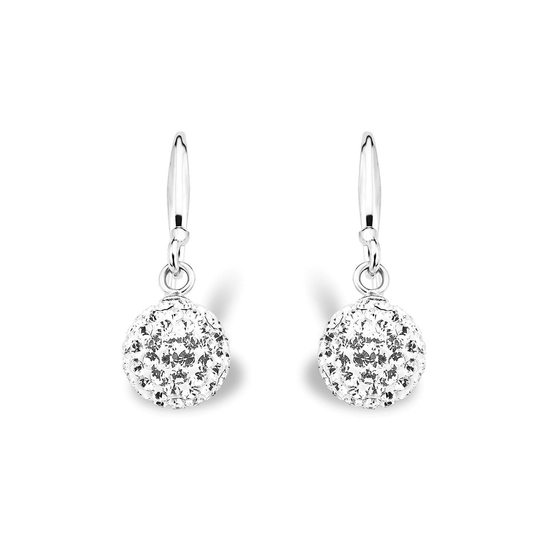 Ohrring Silber 925, rhodiniert Kristallglas