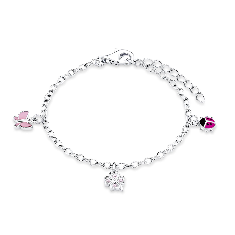 Bettel-Armband für Mädchen, Sterling Silber 925, Zirkonia Marienkäfer