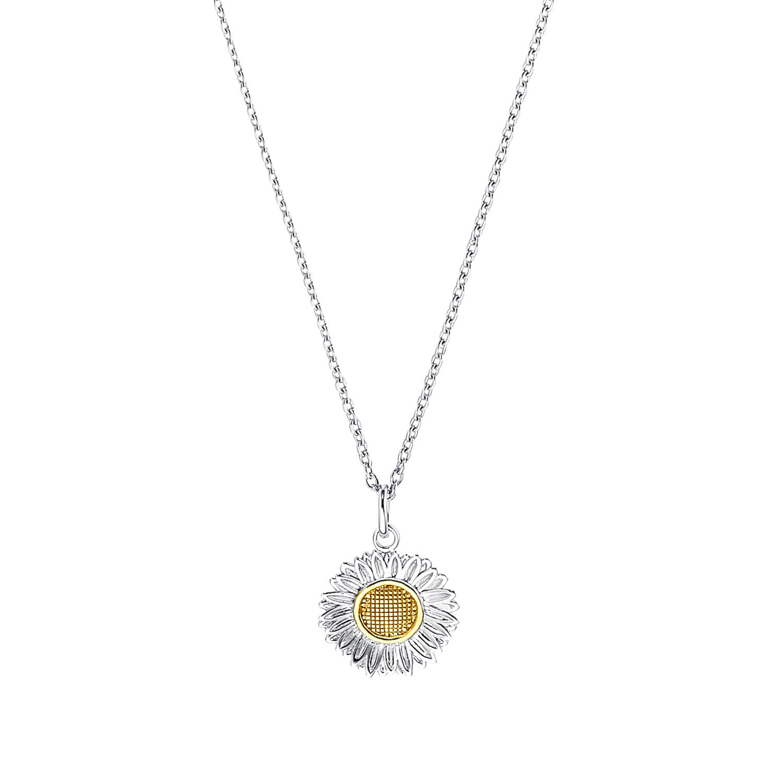 Kette mit Anhänger für Damen, Sterling Silber 925 | Gänseblume