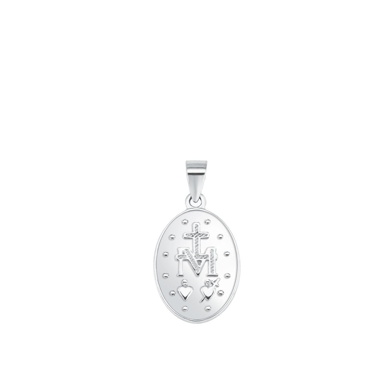 Kette mit Anhänger Silber 925, rhodiniert Marienbild