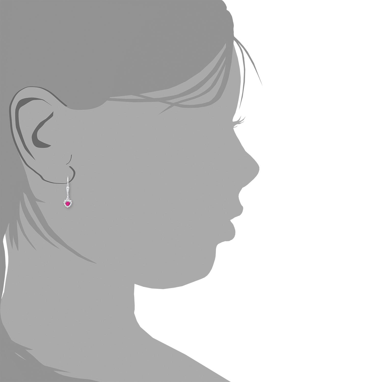 Ohrhänger Silber 925, rhodiniert Zirkonia synth. Herz