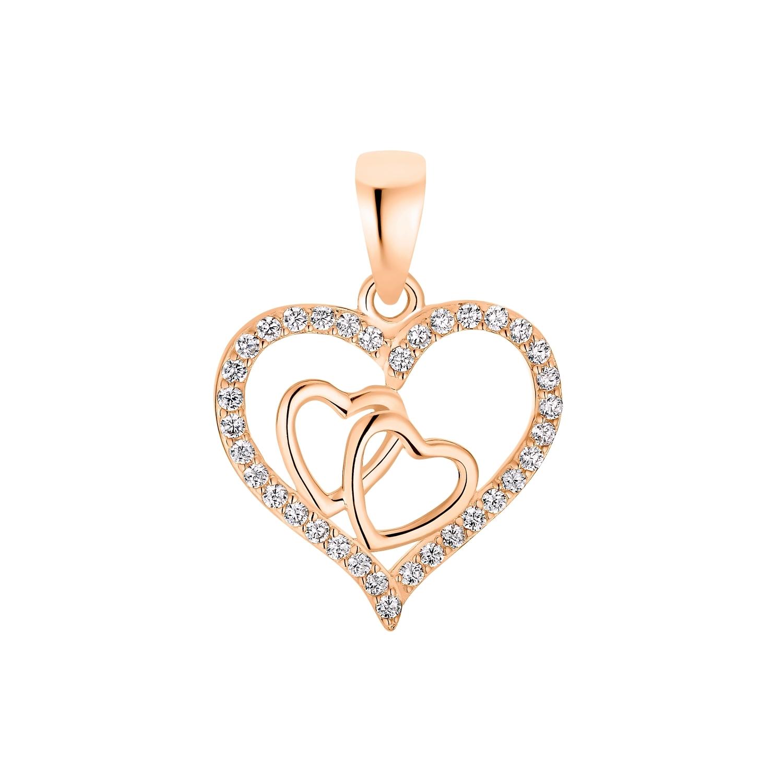 Motivanhänger für Damen, 925 Sterling Silber Roségold Zirkonia | Herz