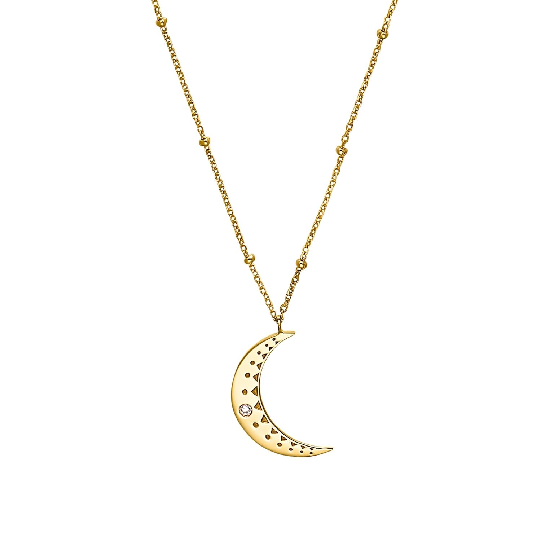 Kette mit Anhänger für Damen, Sterling Silber 925 vergoldet, Zirkonia | Mond