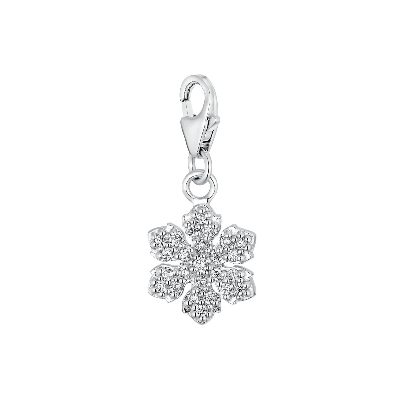Charm für Damen, 925 Sterling  Silber  Zirkonia | Schneeflocke