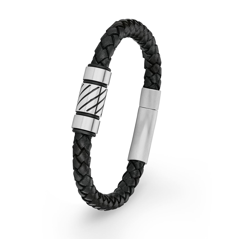 Armband amor Herren-Armband Lederarmband 21 cm Edelstahl Beads