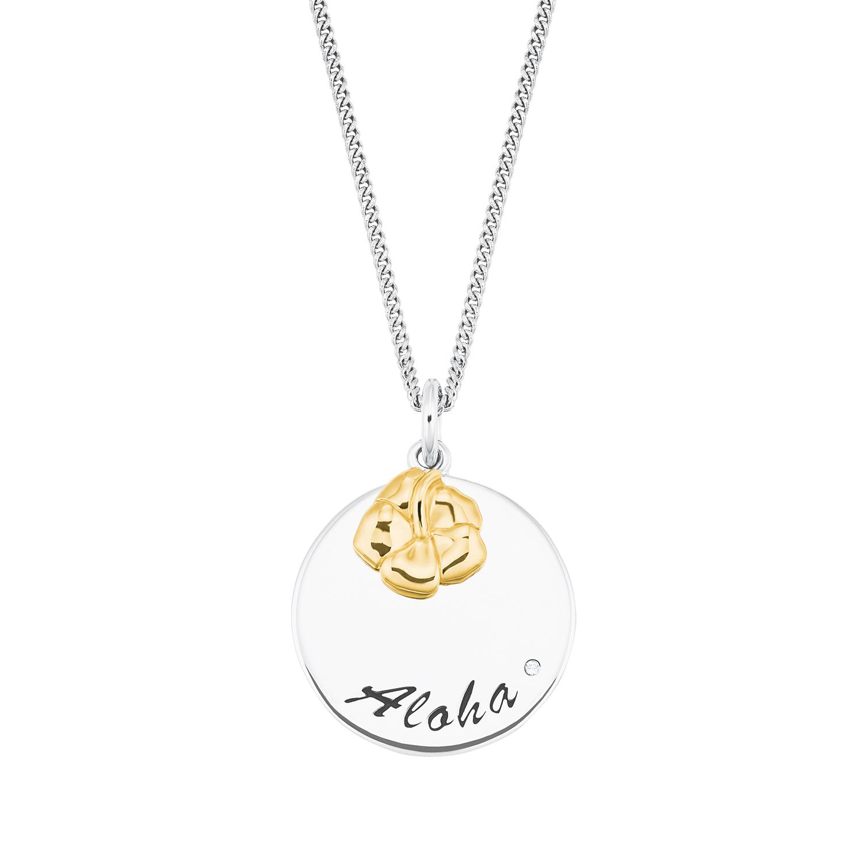 Kette mit Anhänger für Damen, Silber 925, Blume