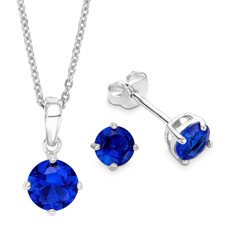Set amor Damen-Schmuckset Halskette + Ohrringe 925 Silber rhodiniert Zirkonia