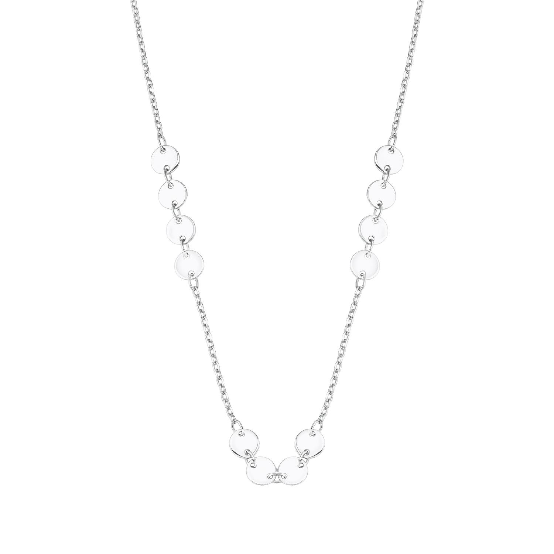 Collier für Damen mit Coin-Anhänger, glänzendes Silber 925