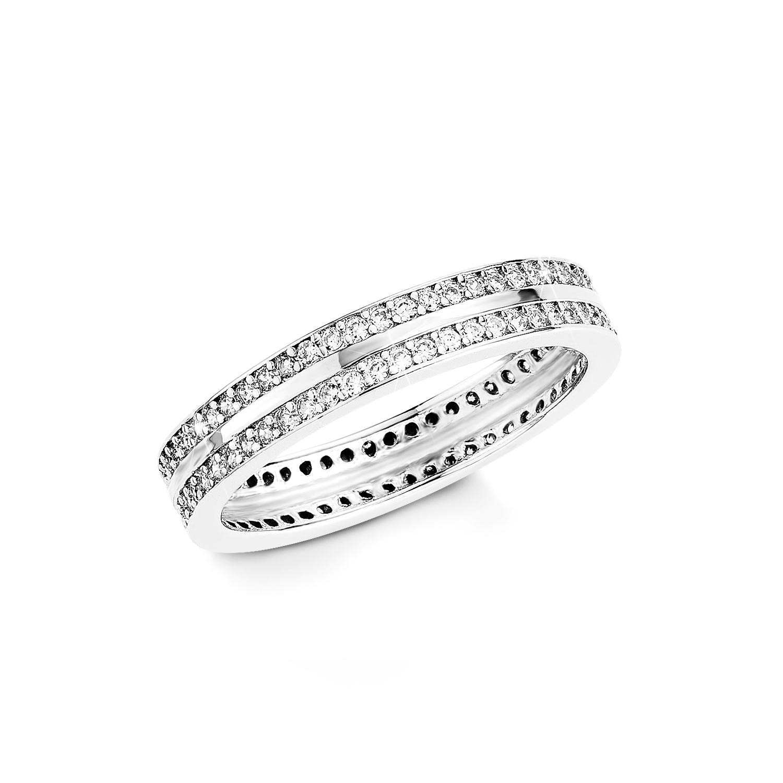 Ring Silber 925, rhodiniert Zirkonia synth.