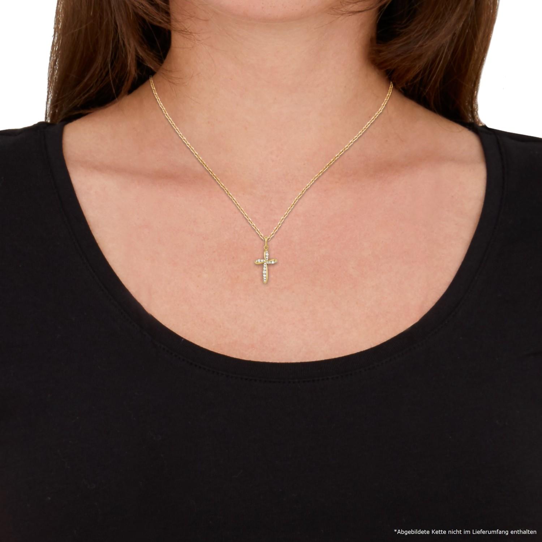 Anhänger Gold 585/14 ct Zirkonia synth. Kreuz