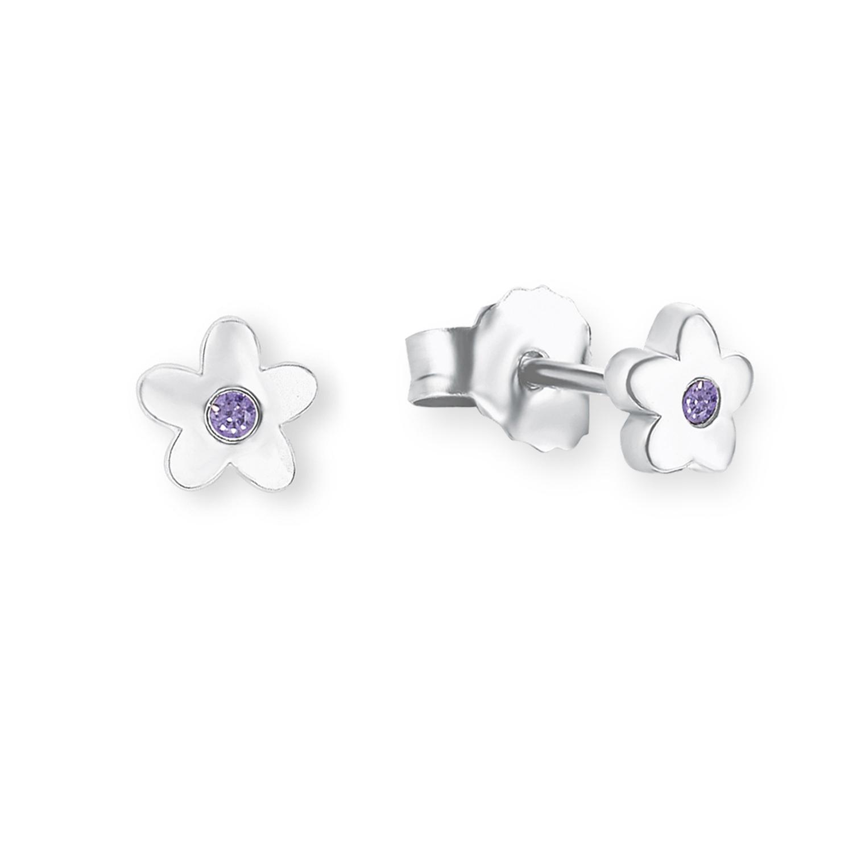 Ohrstecker für Mädchen, Sterling Silber 925, Zirkonia Blume
