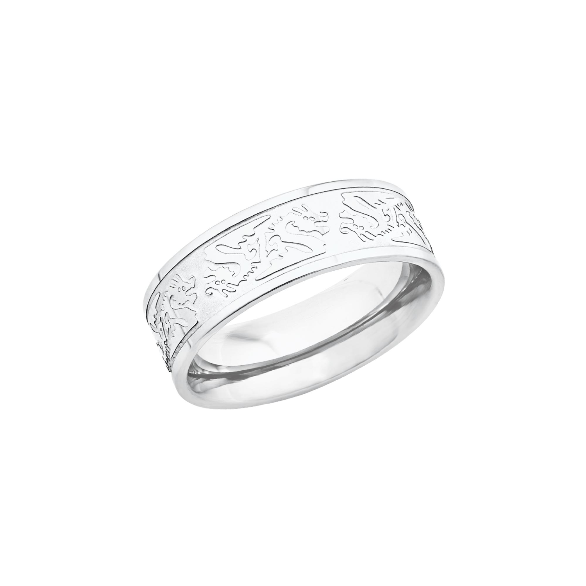 Ring für Herren, Edelstahl, Drachen