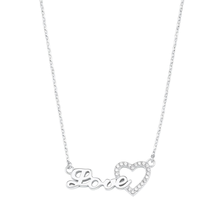 """Kette mit Anhänger für Damen mit """"Love""""-Anhänger, glänzendes Silber 925, Zirkonia"""