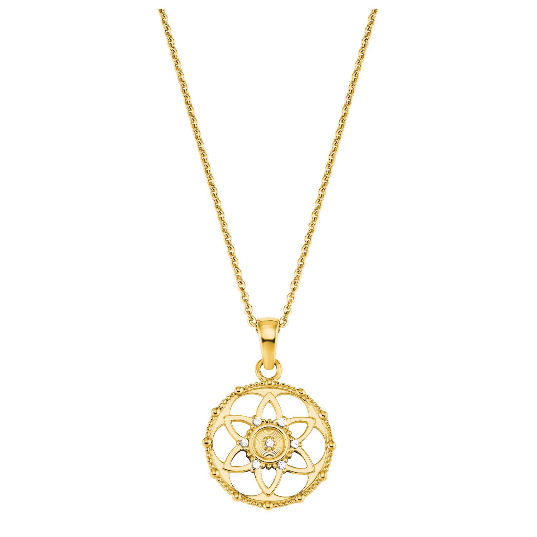 Kette mit Anhänger Silber 925, gelbvergoldet Zirkonia synth. Blume
