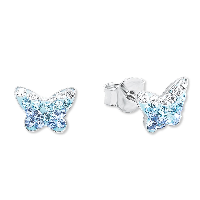 Ohrstecker für Mädchen, Sterling Silber 925, Preciosa Steine Schmetterling