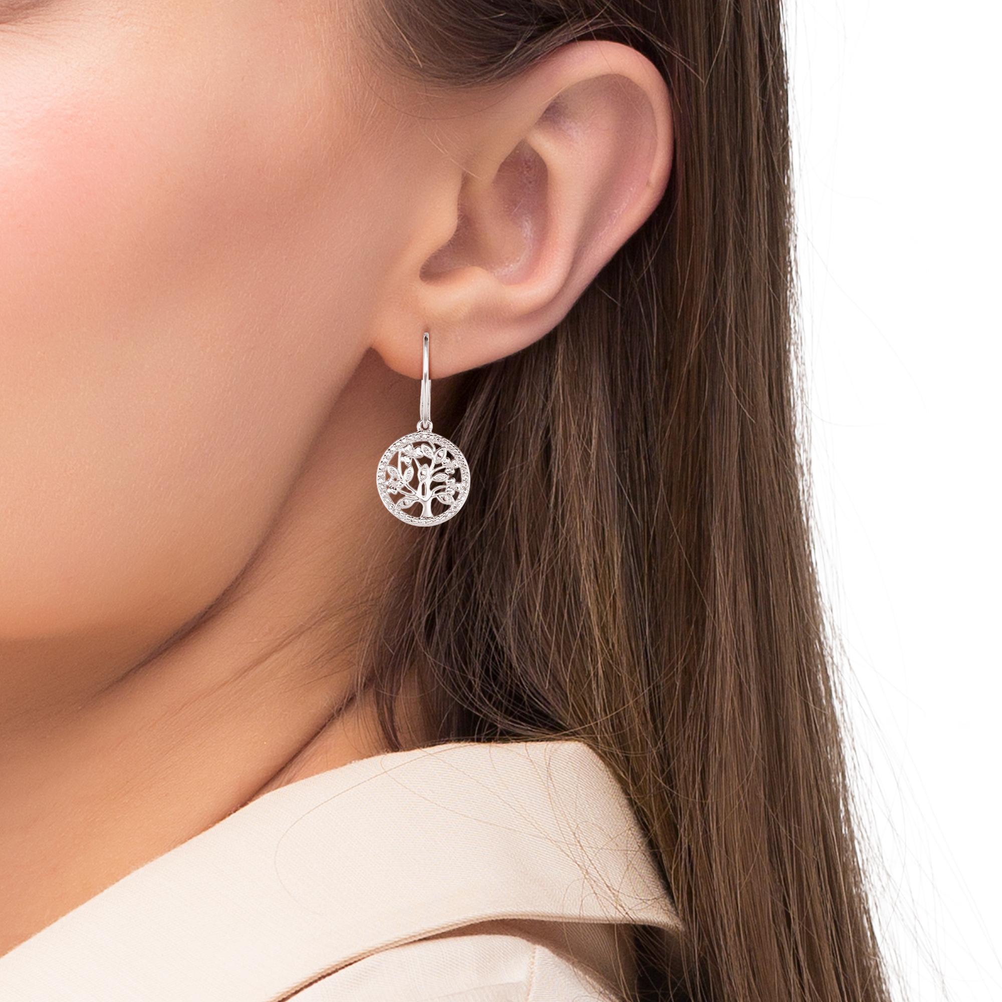 Ohrhänger für Damen, Sterling Silber 925, Zirkonia Lebensbaum