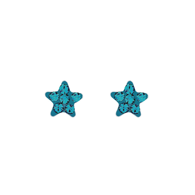 Ohrstecker für Mädchen 5 mm Sterne 925 Sterling Silber rhodiniert Kristall Türkis