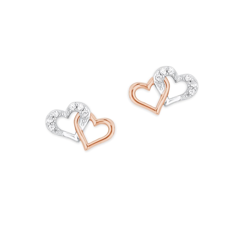Ohrstecker für Damen, Silber 925 teilrosévergoldet, Herz mit Zirkonia