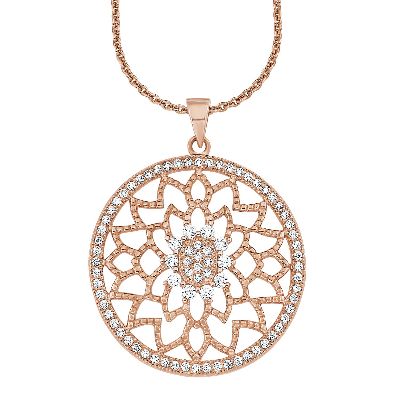 Kette mit Anhänger für Damen, Sterling Silber 925, Zirkonia Ornamente