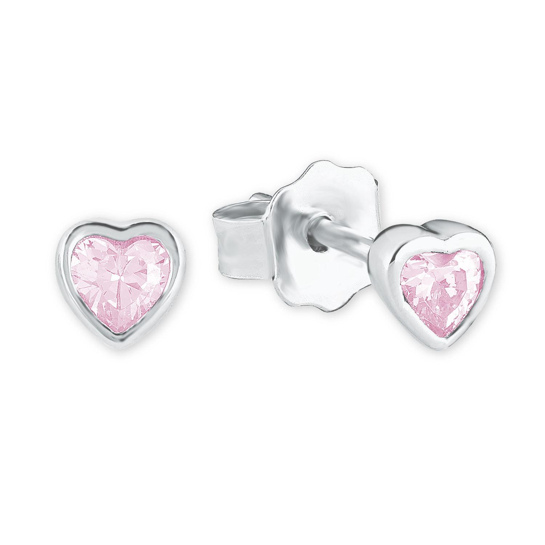 Ohrstecker für Mädchen, Sterling Silber 925, Zirkonia Herz