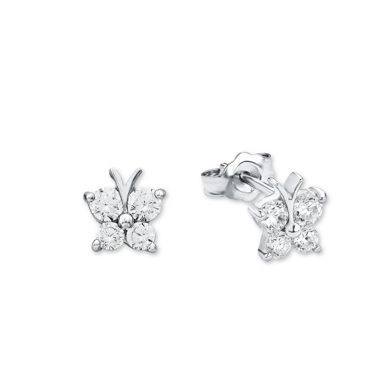 Ohrstecker für Mädchen  Schmetterling 925 Silber rhodiniert Zirkonia weiß