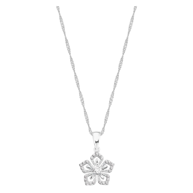 Kette mit Anhänger Silber 925, rhodiniert Zirkonia synth. Blume