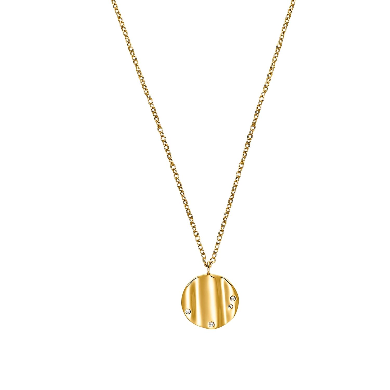 Kette mit Anhänger für Damen, Sterling Silber 925 vergoldet, Zirkonia