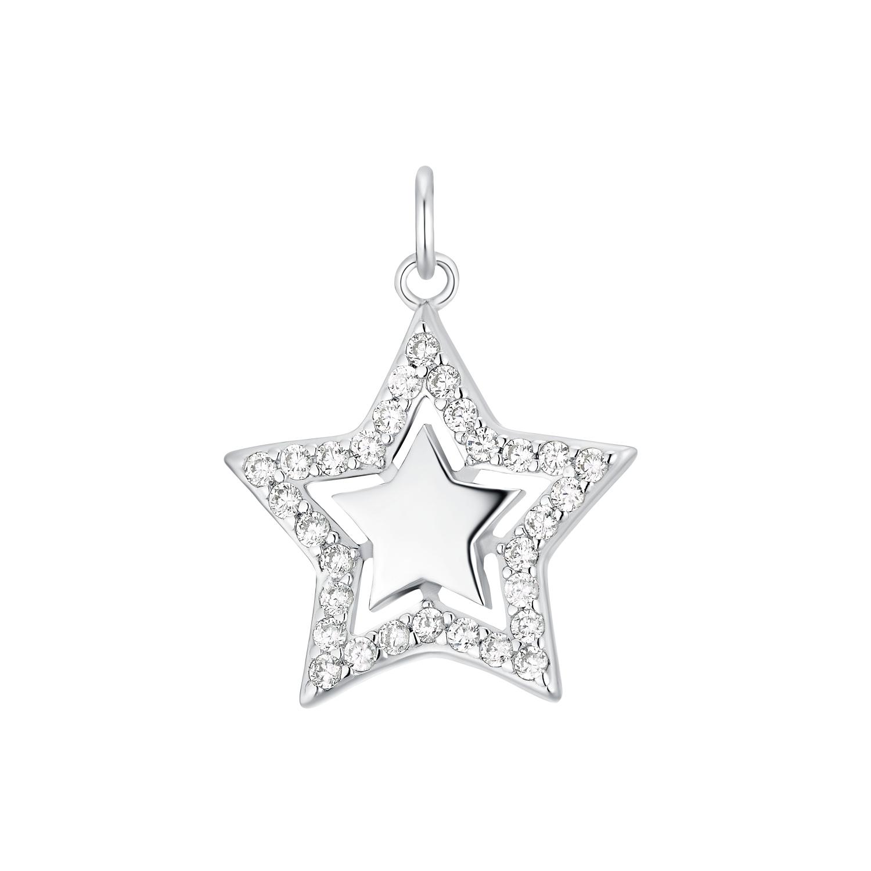 Motivanhänger für Damen, 925 Sterling Silber Zirkonia   Stern