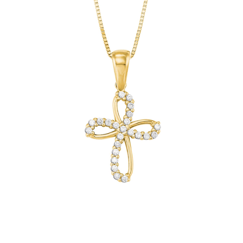 Kette mit Anhänger Gold 585/14 ct Zirkonia synth. Kreuz