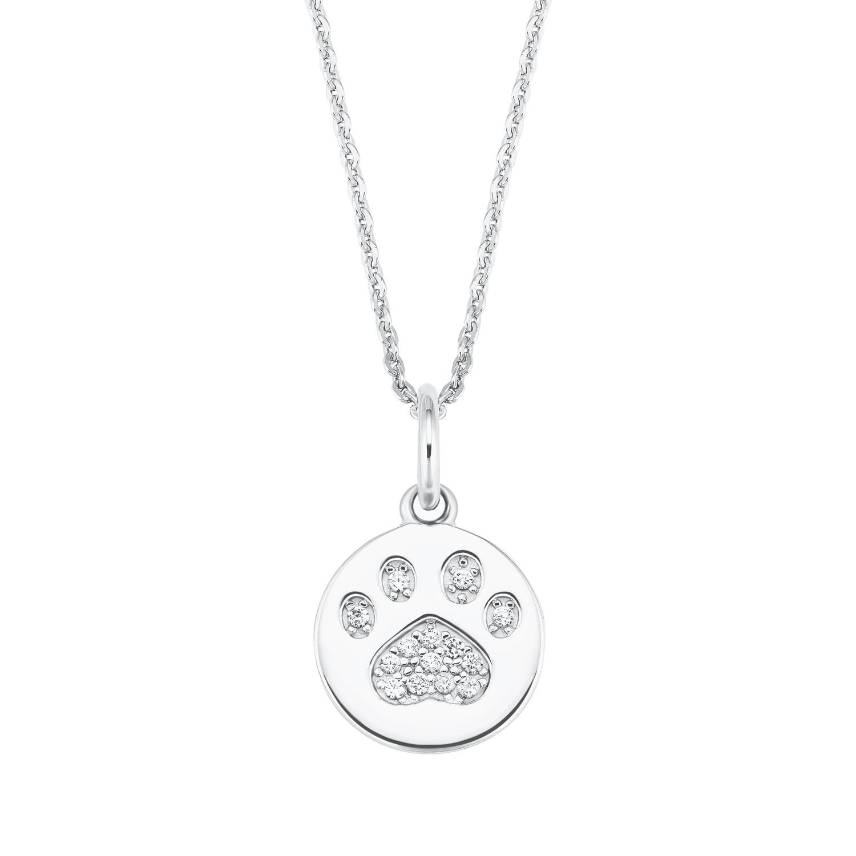 Kette mit Anhänger für Damen, Sterling Silber 925, Zirkonia Hundepfote