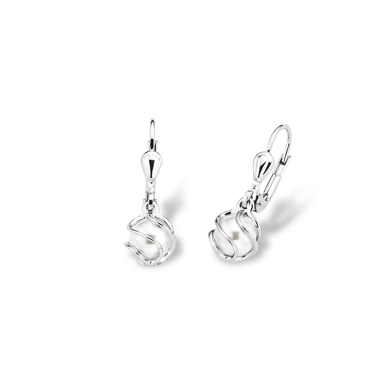 Ohrring für Damen, Sterling Silber 925, Wachsperle