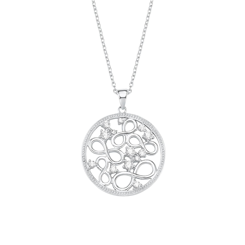 Kette mit Anhänger für Damen, Sterling Silber 925, Zirkonia Infinity