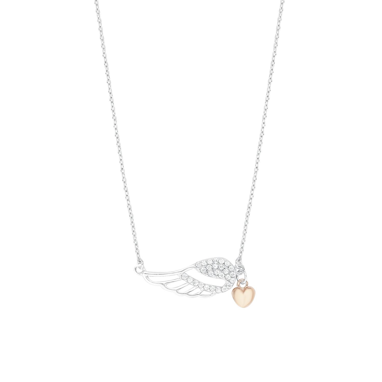 Kette mit Anhänger Silber 925, rhodiniert+rosévergoldet Zirkonia synth. Flügel