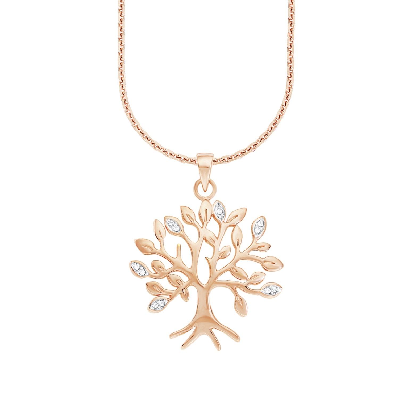 Kette mit Anhänger für Damen, Sterling Silber 925, Zirkonia Lebensbaum