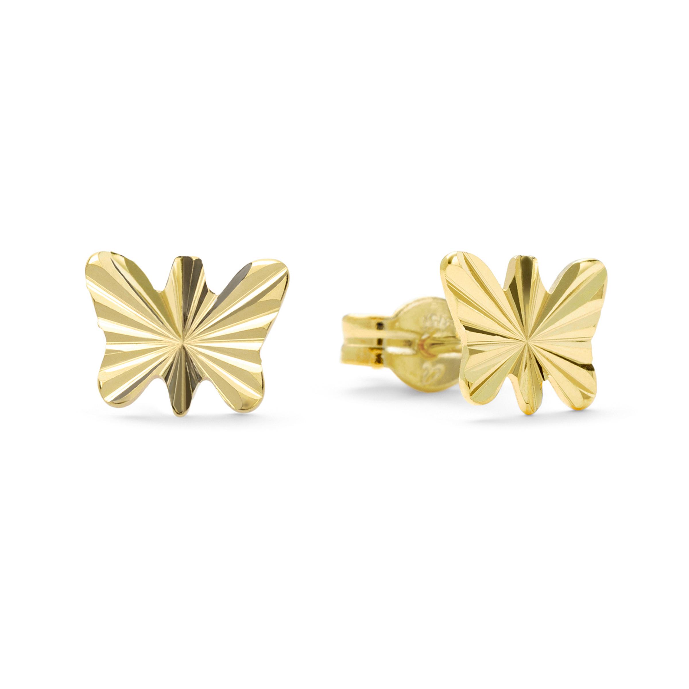 Ohrstecker für Kinder Mädchen, Gold 375, Schmetterling