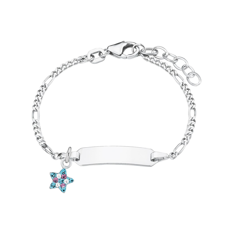 Identarmband für Mädchen, Sterling Silber 925, Preciosa Steine Stern